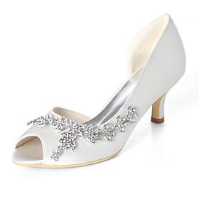 Women's Wedding Shoes Plus Size Kitten Heel Peep Toe Classic Wedding Party  Evening Rhinestone Solid Colored Satin Walking Shoes Summer White / Dark Purple / B