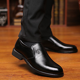 Men's Loafers  Slip-Ons Business / British Party  Evening Office  Career Nappa Leather Breathable Wear Proof Black Summer / Fall