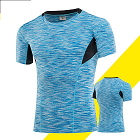 Men's Compression Shirt Short Sleeve Compression Base layer T Shirt Top Plus Size Lightweight Breathable Quick Dry Soft Sweat-wicking Blue Grey GoldenSilver Sp