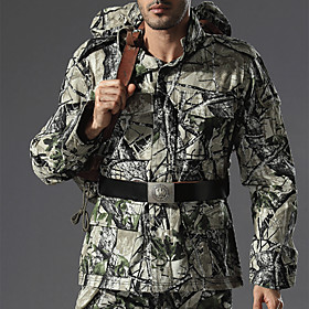 Men's Camo Hiking Shirt / Button Down Shirts Long Sleeve Outdoor Windproof Quick Dry Wear Resistance Top Autumn / Fall Spring Cotton Hunting Camping / Hiking /