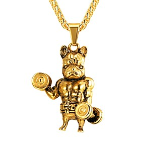 Men's Pendant Necklace franco chain Dog Hyperbole Fashion Steel Stainless Gold Silver 55 cm Necklace Jewelry 1pc For Gift Daily