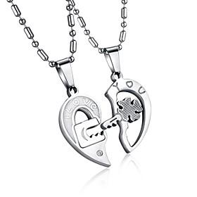 Men's Women's Clear AAA Cubic Zirconia Pendant Necklace Geometrical Broken Heart Heart Letter Hollow Heart Relationship Elegant Hip-Hop Steel Stainless Silver