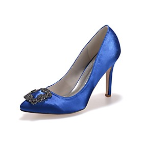 Women's Wedding Shoes Plus Size Pumps Pointed Toe Classic Wedding Daily Rhinestone Solid Colored Satin Walking Shoes Summer White / Black / Purple