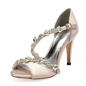 Women's Wedding Shoes Glitter Crystal Sequined Jeweled Stiletto Heel Peep Toe Rhinestone / Bowknot / Sparkling Glitter Satin Sweet Spring  Summer Purple / Yell