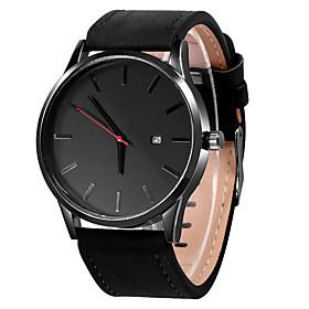 Men's Dress Watch Quartz Casual Calendar / date / day Analog Black / White Black Khaki / One Year / Stainless Steel / Leather