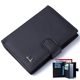Men's Bags Cowhide Wallet Solid Color for Daily Black