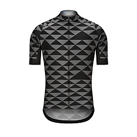 Men's Short Sleeve Cycling Jersey Black Bike Jersey Top Sports Clothing Apparel / High Elasticity
