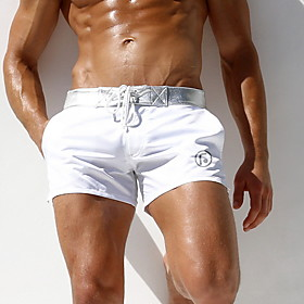 Men's Bottoms Swimsuit Solid Colored Swimwear Bathing Suits White Black