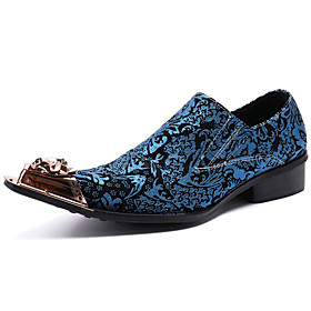 Men's Loafers  Slip-Ons Business / Casual / British Daily Party  Evening Cowhide Handmade Non-slipping Wear Proof Blue Fall / Winter