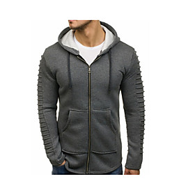 Men's Hoodie Zip Up Hoodie Solid Colored Hooded Casual Hoodies Sweatshirts  Black Khaki Green