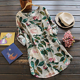 Women's White Navy Blue Dress Basic Tunic Floral Print M L Loose / Cotton