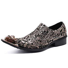 Men's Loafers  Slip-Ons Business / Casual / British Daily Party  Evening Cowhide Handmade Non-slipping Wear Proof Gold Fall / Winter