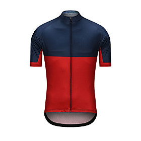 Men's Short Sleeve Cycling Jersey RedBlue Patchwork Bike Jersey Top Sports Clothing Apparel / High Elasticity