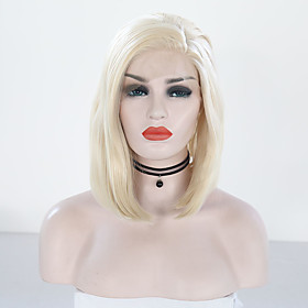 Synthetic Lace Front Wig Straight Bob Lace Front Wig Blonde Short Light golden Synthetic Hair 12 inch Women's Adjustable Heat Resistant Women Blonde