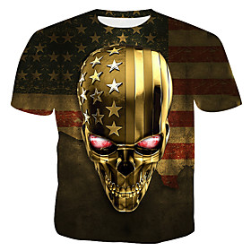 Men's 3D Graphic Print T-shirt - Cotton Round Neck Gold / Skull