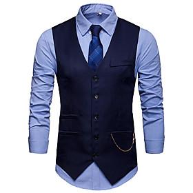 Men's V Neck Vest White / Black / Wine S / M / L / Slim