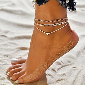 Ankle Bracelet feet jewelry Tropical Bikini Fashion Women's Body Jewelry For Causal Bikini Layered Cord Alloy Heart Silver 2pcs / pack