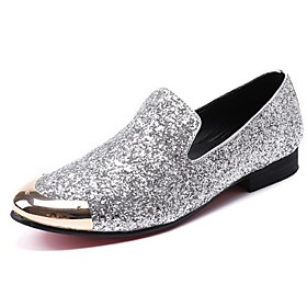 Men's Loafers  Slip-Ons Business / Casual / British Daily Party  Evening Cowhide Handmade Non-slipping Wear Proof Silver Fall / Winter