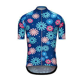 Men's Short Sleeve Cycling Jersey Blue Floral Botanical Bike Jersey Top Sports Clothing Apparel / High Elasticity