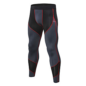 Men's Compression Pants Compression Base layer Tights Bottoms Plus Size Lightweight Breathable Quick Dry Soft Sweat-wicking Black / Green Silver / Black Bule /