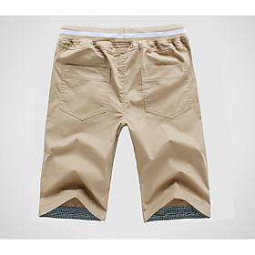 Men's Basic Shorts Pants Solid Colored Drawstring White Black Khaki M L XL