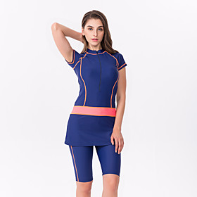 Women's Rash Guard Dive Skin Suit Diving Suit Quick Dry Short Sleeve 2-Piece - Swimming Surfing Solid Colored Summer / Stretchy