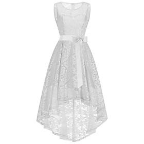 Mermaid / Trumpet Elegant Vintage Inspired Homecoming Prom Dress Jewel Neck Sleeveless Asymmetrical Ankle Length Lace with Sash / Ribbon 2020
