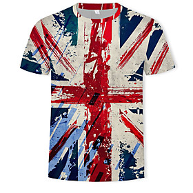 Men's 3D Graphic Print T-shirt Street chic Military Casual / Daily Festival Round Neck Rainbow / Short Sleeve