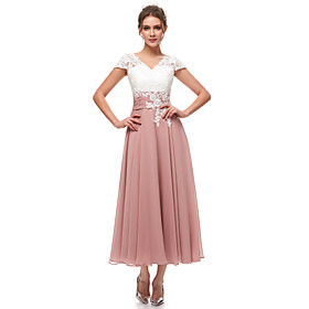 A-Line Pink White Wedding Guest Formal Evening Dress V Neck Short Sleeve Ankle Length Chiffon Lace with Pleats Appliques 2020
