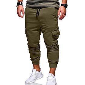 Men's Active / Basic Daily Slim Chinos / wfh Sweatpants Pants - Solid Colored Army Green Khaki Light gray XXL XXXL XXXXL