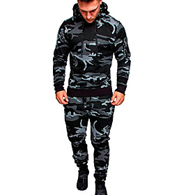 Men's Activewear Set Solid Colored Camo / Camouflage Hooded Basic Hoodies Sweatshirts  Black Army Green Khaki