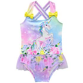Kids Toddler Girls' Active Cute Unicorn Print Rainbow Patchwork Sleeveless Swimwear Rainbow