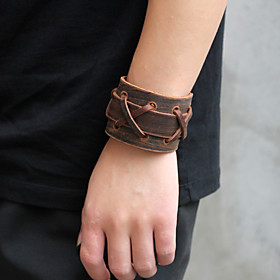Men's Vintage Bracelet Leather Bracelet Bracelet Braided Weave Vintage Punk Rock Fashion Steampunk Leather Bracelet Jewelry Black / Brown For Party Carnival St