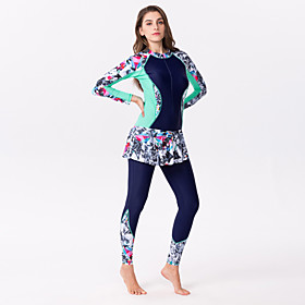 Women's Rash Guard Dive Skin Suit Elastane Diving Suit Full Body Front Zip - Swimming Surfing Painting Patchwork Summer / Stretchy