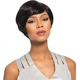 Synthetic Wig Natural Straight Pixie Cut Wig Short Jet Black Synthetic Hair 8 inch Women's Synthetic Natural Hairline Comfy Black BLONDE UNICORN