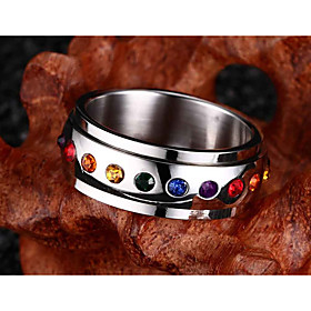 Men's Band Ring 1pc Silver Stainless Steel Imitation Diamond Colorful Wedding Party Jewelry Rainbow