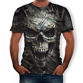 Men's 3D Graphic Print T-shirt - Cotton Round Neck Army Green / Skull / Camo / Camouflage