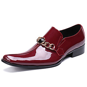 Men's Oxfords Business / Casual / British Daily Party  Evening Cowhide Handmade Non-slipping Wear Proof Black / Red Fall / Winter