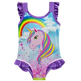 Kids Toddler Girls' Active Cute Unicorn Rainbow Ruffle Sleeveless Swimwear Purple
