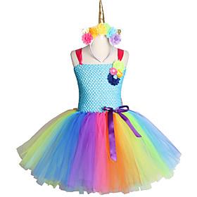 Handmade Toddler Kids Candy Unicorn Flower Christmas Dress Princess Costume Headband