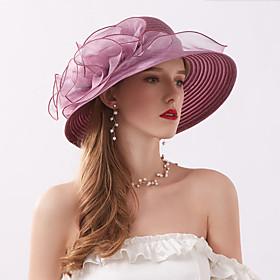 Women's Kentucky Derby Party Cute Chiffon Lace Floppy Hat Sun Hat-Floral All Seasons Wine Khaki Lavender
