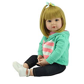 NPKCOLLECTION 20 inch Reborn Doll Baby Baby Girl Gift Hand Made Artificial Implantation Blue Eyes Cloth 3/4 Silicone Limbs and Cotton Fille