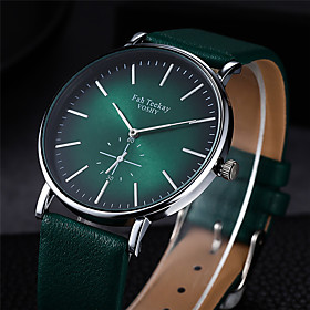 Men's Sport Watch Quartz Quilted PU Leather Black / Green No Casual Watch Analog Minimalist - Black Purple Silver