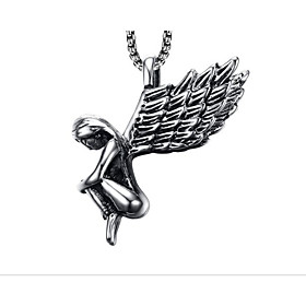 Men's Pendant Necklace Classic Angel Fashion Stainless Steel Gold Silver 50 cm Necklace Jewelry 1pc For Daily Work
