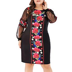 Women's Bodycon Dress - Long Sleeve White Black XL XXL XXXL XXXXL XXXXXL XXXXXXL
