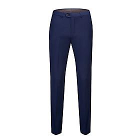 Men's Basic Dress Pants Pants Solid Colored Black White Blue Classic White Black Blue 30 31 32