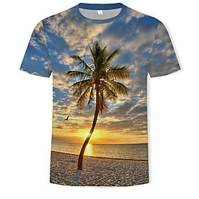 Men's Casual / Daily T-shirt Graphic Scenery Print Short Sleeve Tops Basic Boho Round Neck Rainbow