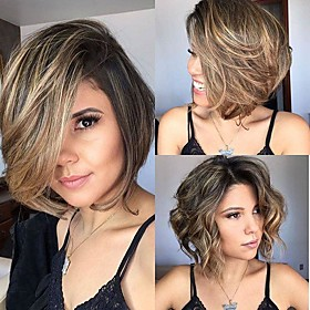 Synthetic Wig Ombre Straight Beyonce Bob Short Bob Side Part Wig Short Medium Brown / Bleached Blonde Synthetic Hair 10 inch Women's Elastic Women Easy dressin
