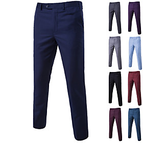 Men's Basic Dress Pants Chinos Pants - Solid Colored Wine Black Blue M / L / XL