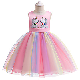 Kids Girls' Active Sweet Unicorn Patchwork Short Sleeve Knee-length Dress Blushing Pink